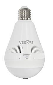 VESKYS®  1.3MP 960P Fisheye 360 Degree Panorama Lamp Bulb lnfrared And White Light Wireless IP Camera