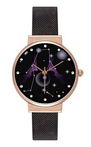 Homens Mulheres Relógio de Moda Relógio de Pulso Japanês Quartzo Fase da lua Aço Inoxidável Banda Colorido Preta Prata Ouro Rose