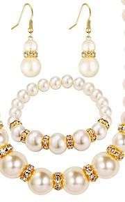 Dame Dråbeøreringe Halskæde Imiteret Perle Syntetisk Diamant Klassisk Mode Daglig Imiteret Perle Simuleret diamant Legering Bold 1