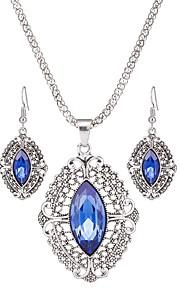 Dame Dråbeøreringe Halskæde Krystal Klassisk Mode Daglig Krystal Legering Geometrisk form 1 Halskæde Øreringe
