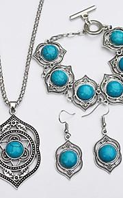 Herre Dame Dråbeøreringe Halskæde Turkis Simple Etnisk Daglig Turkis Legering 1 Halskæde 1 Armbånd Øreringe