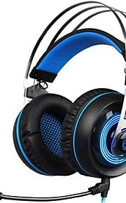 a7-1 versione di vibrazione sopra la fascia dell'orecchio cuffie cablate auricolari di gioco in plastica isolanti con microfono con