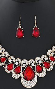 Damskie Kolczyki wiszące Bridal Jewelry Sets Oświadczenie Naszyjniki Rhinestone Kryształ Stop Geometric Shape Kropla Modny Słodkie Ślub