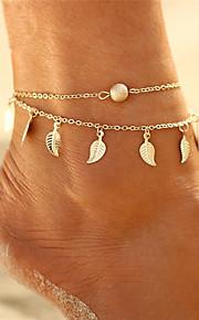 Damskie Łańcuszek na kostkę / Bransoletki , Stop Artystyczny Wielowarstwowy Bikini Łańcuszek na kostkę Circle Shape Leaf Shape Biżuteria
