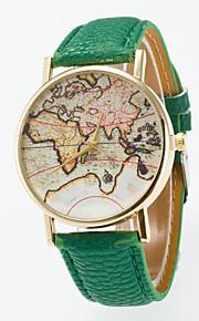 Homens Mulheres Relógio de Moda Chinês Quartzo Relógio Casual Couro Banda Vintage Padrão Mapa do Mundo Preta Azul Vermelho Laranja Verde