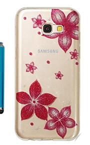 Capinha Para Samsung Galaxy A5(2017) A3(2017) IMD Estampada Glitter Brilhante Capa traseira Flor Macia TPU para A3 (2017) A5 (2017)