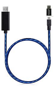 Typ-C Micro-USB USB-Kabeladapter leuchtend Alles in einem Draht-Kabel Kabel Für Huawei LG Nokia Lenovo Xiaomi Motorola HTC Sony 85cm