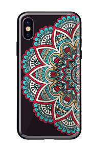 Case For Apple iPhone X iPhone 8 Pattern Back Cover Mandala Hard Tempered Glass for iPhone X iPhone 8 Plus iPhone 8 iPhone 7 iPhone 6s