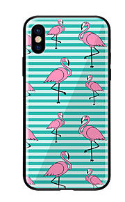 Case For Apple iPhone X iPhone 8 Pattern Back Cover Flamingo Hard Tempered Glass for iPhone X iPhone 8 Plus iPhone 8 iPhone 7 iPhone 6s