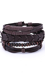 Herre Wrap Armbånd , Vintage Rock Læder Brun Uregelmæssig Smykker Daglig I-byen-tøj Kostume smykker