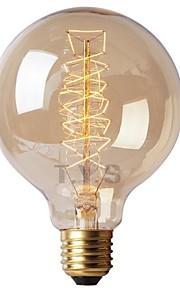 1pc 40W E26/E27 G125 Varm hvit 2200-2700k K Kontor / Bedrift Mulighet for demping Dekorativ Glødende Vintage Edison lyspære 220V-240V