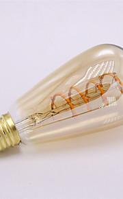 1pc 4 W 300 lm E26 / E27 Lampadine LED a incandescenza ST64 1 Perline LED COB Decorativo / Filamento morbido Bianco caldo 85-265 V