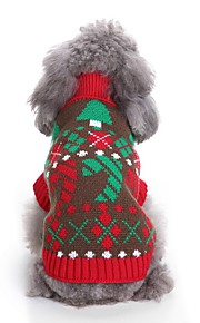 Dogs Sweater Dog Clothes Floral / Botanical / Christmas Red / Blue Terylene Costume For Pets Unisex Party / Evening / Christmas