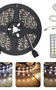 BRELONG® 5m Ευέλικτες LED Φωτολωρίδες 300 LEDs SMD5025 1 24Keys Τηλεχειριστήριο Θερμό Λευκό / Άσπρο Μπορεί να κοπεί / Πάρτι / Διακοσμητικό 12 V 1pc