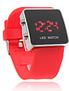 Silicone Band Women Men Unisex Jelly Sport Style Square LED Wrist Watch - Red