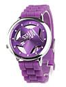 Hollow Out Star Pattern Design Unisex Quartz Wrist Watch with Crystal Decoration - Purple