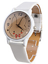 coelho dos desenhos animados padrão branco pu banda relógio de pulso de quartzo analógico das mulheres