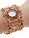 女性のための合金バンドクォーツ腕時計(ゴールド)