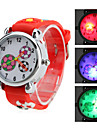 Children's Soccer Style Silicone Analog Quartz Wrist Watch with Flashing LED Light (Red)