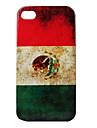 아이폰 4와 4S를위한 멕시코 패턴 하드 가지 경우 빈티지 스타일 플래그