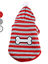 Dog Hoodie Dog Clothes Stripe White Gray Red Costume For Pets