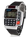 hommes montre-bracelet en caoutchouc numérique automatique avec multifonctions (noir)