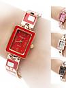 Mulheres Bracele Relogio Quartzo Banda Elegantes Preta Branco Vermelho Marrom Rosa Branco Preto Marron Vermelho Rosa claro