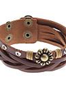 Z&X®  8 Petal Flower Cross Rivet Leather Bracelet