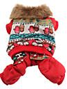 Style de bonhomme de neige d'hiver Motif capuche Manteau en coton pour chiens (XS-XL, Rouge)
