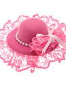 chapeau de dentelle perles pince à cheveux violet pour animaux de compagnie