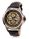WINNER® Men\'s Wrist Style PU Analog Mechanical Hollow Watch (Black) Cool Watch Unique Watch Fashion Watch