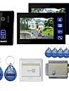 """7 """"kleuren handsfree video deurtelefoon met 2 monitoren nachtzicht RFID keyfobs elektronisch bedieningslot"""