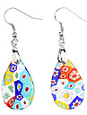Delicate Colorful Flowers Pattern Coloured Glaze Earrings