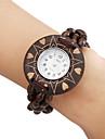 Дерево Женские аналоговые кварцевые часы браслет (коричневый)
