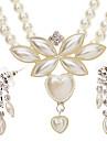 Six feuilles cordiformes perle boucles d'oreilles + collier de bijoux Set