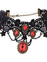 Dámské Rubínová Obojkové náhrdelníky / Vintage náhrdelník / tetování obojek - Zirkon, Krajka Tetování, Evropský, Módní Černá Náhrdelníky Šperky Pro Párty / Barva ozdobného kamene