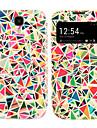 용 삼성 갤럭시 케이스 케이스 커버 윈도우 플립 패턴 풀 바디 케이스 기하학 패턴 인조 가죽 용 Samsung S4