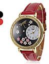 여자와 소녀의 잠자리 패턴 PU 아날로그 석영 손목 시계 (분류 된 색깔)