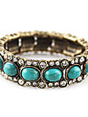 Vintage Antique Copper Alloy Zircon Acrylic Gem Pattern Bracelet