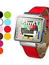 여성의 TV 패턴 스퀘어 케이스 PU 밴드 석영 손목 시계 (분류 된 색깔)