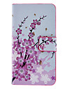 Pink Pattern Wintersweet Caso Full Body com Slot para cartão e Built-in Matte PC Capa para iPhone 4/4S