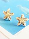 Темперамент бриллиант жемчуг золотая пятиконечная звезда морская звезда серьги E305