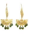 Cute bohemian crystal beads earrings hollow fan E693