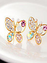 Women\'s Stud Earrings Pearl Rhinestone Alloy Butterfly Animal Jewelry Golden Party Daily Costume Jewelry