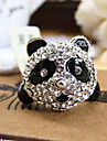 Panda full diamond ring decorated with adjusting ring opening ring (random color)