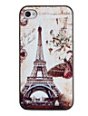 Ретро бабочки вокруг башня шаблон ПК Футляр с черной рамкой для iPhone 4/4S