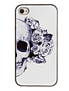Skull Rose sisustettu Korva Pattern PC Hard Case Black Frame iPhone 4/4S