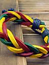Torção colorida pulseira de couro