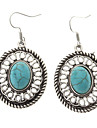 Lureme®Vintage Antique Silver Round Green Turquoise Drop Earrings