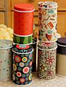 Caja de la lata caja de almacenamiento de escritorio de dibujos animados cilíndrica (color al azar)